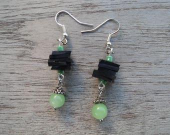 Stud Earrings in inner tube recycled and green glass - dangle earrings - dangle fancy bead