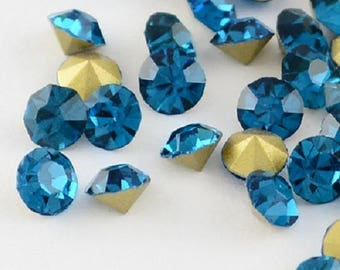Wholesale LOT 1500 rhinestones - Style diamonds 2.5 mm blue dark TURQUOISE and gold glass - table Decoration, holiday jewelry crimp.
