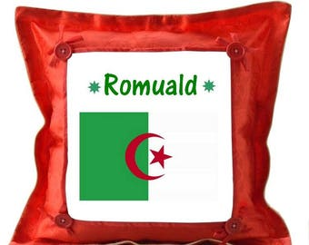 Algeria red pillow personalized with name