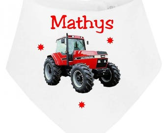 Tractor personalized with name baby bandana bib