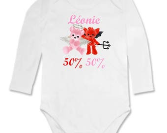 50% 50% baby Angel or demon personalized with name Bodysuit
