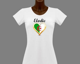 White women Algeria t-shirt personalized with name
