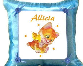 Blue cushion kitten personalized with name
