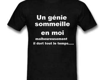 Black t-shirt humor genius sleeps... age choice