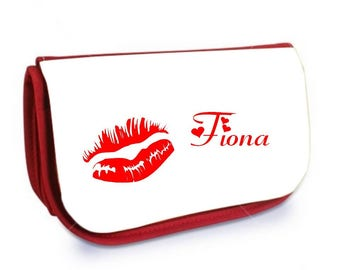 Cosmetic case red /crayons Kiss personalized with name