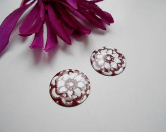 x 2 red enameled sequin dark/white