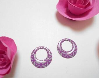 x 2 sequins purple grey 18 mm