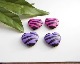 set of 4 Zebra hearts black and fuchsia purple