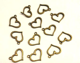 Set of 15 hearts T34 bronze metal charms
