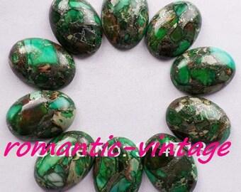 1 beautiful cabochon stones (green sediment Jasper and pyrite) 25 * 18mm
