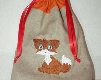 """DrawString linen and cotton embroidery Fox """"manga"""" pouch"""
