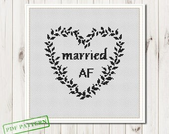 Wedding Cross Stitch Pattern Married Cross Stitch Pattern Married AF Modern Cross Stitch Easy Cross Stitch Pattern