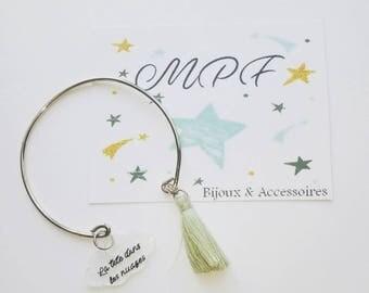 Silver Bangle Bracelet with tassel