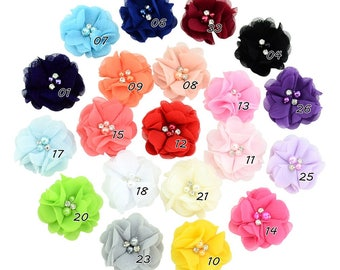 20 Color 20pcs/lot 2.1'' Lovely Chiffon Fowers with Rhinestone Pearl Wthout Cips Kids hair accessories 733
