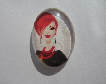 Oval glass cabochon 25 X 18 mm with her red-haired woman image