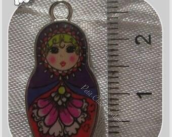 1 PENDANT charm MATRYOSHKA BABUSHKA Russian DECORATIVE metal doll * B314