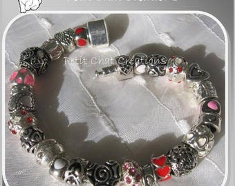 "BRACELET SILVER CHARMS BEADS DONUTS GLASS RHINESTONE COMPATIBLE ""GENEROUS HEART"""