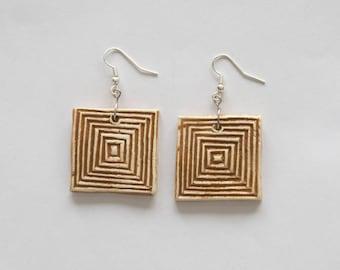Ceramic camel color square earrings