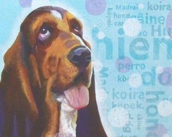 """DOGS - Acrylic painting on canvas """"Ignatius"""" (dog basset)"""