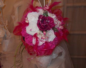 bouquet bridal artificial fuchsia and white