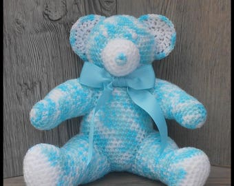 Teddy bears turquoise blue and white crochet