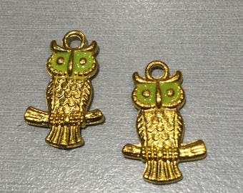 OWL gold and green enamel