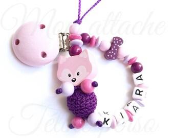 "wooden pacifier ~ pink Fox ""Kiara"" model"