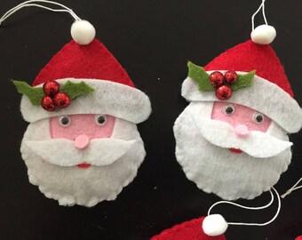set of 5 hand made felt Santa, Santa Claus has hanging Christmas decoration