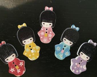 5 button, button, scrapbooking, customisation, cardmaking, Japanese woman button embellishment