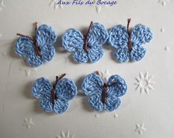 Butterflies crocheted in cotton blue sky, set of 5
