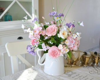 floral composition to order bouquet of flowers, roses, table centerpiece, home decor, handmade