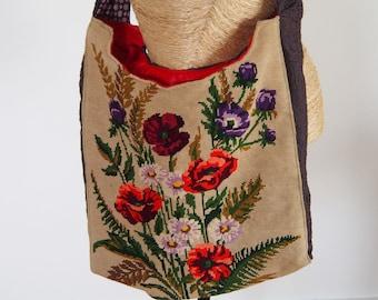Canvas floral shoulder bag