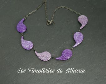 Polymer clay necklace Pearl mica shift mini purple commas