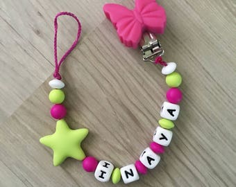 Pacifier Silicone Fuchsia and green anise-IDEAL birth gift
