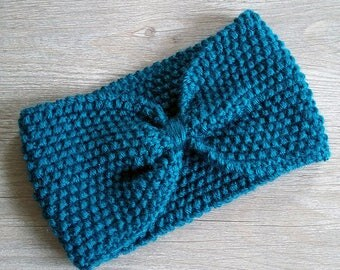 Persian blue wool headband - adult size