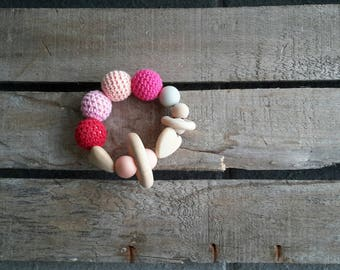 "The ""Morsotti"" teething bracelet pink and Fuchsia"