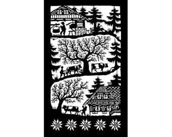 Poya, mounted to the pasture in woodcut (Swiss traditional art)