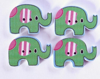 Elephant set of 10 wooden buttons: Green - 002228