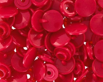 10 buttons red KAM snap size 12.4 mm
