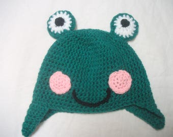 Frog hat for girl or boy, size 3/4 years, at the waist