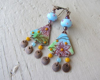 Bucolic dangle enameled copper charm and Lampwork Glass Bead, flower theme, yellow, purple and blue