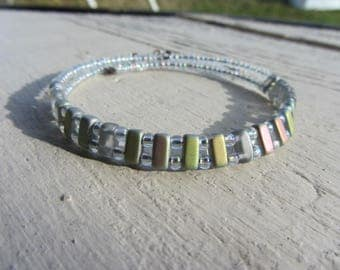 Bangle is lightweight, Japanese glass beads, miyuki seed beads, and translucent iridescent gray