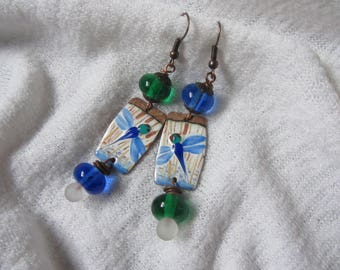 Earrings dangling copper rectangle charm enamelled beads and Lampwork Glass rondelles, dragonfly theme, blue, white, green, vivid colors
