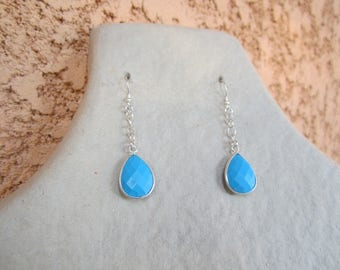 Earrings in 925 sterling silver and turquoise pendant