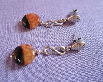 Silver plated and two-tone agate chip earrings