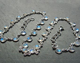 White Labradorite Necklace (Moonstone) in solid 925 mid-long Agent or crewneck