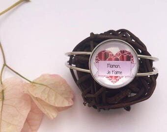 Bracelet cabochon MOM I love you red heart and Silver gift for MOM