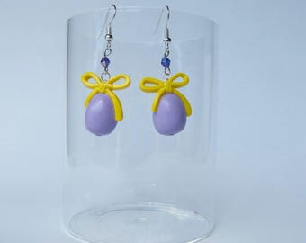 "Earrings ""Easter egg lilac and yellow"""