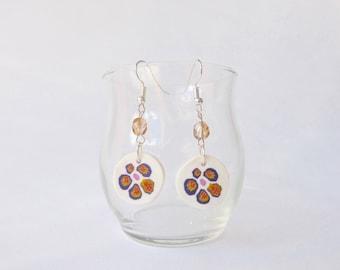 painted flowers on white, beige Pearl Earrings