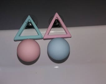 Pastel geometric original earrings